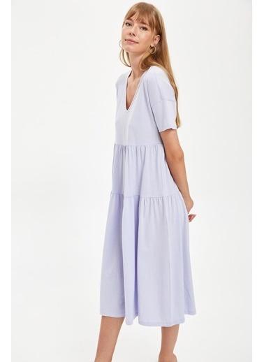 DeFacto V Yaka Volanlı Oversize Elbise Mor